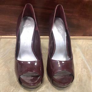 Jessica Simpson Burgundy Peep toe Heels Size 7